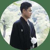 黒羽二重の紋付と仙台平の袴[着付け込]